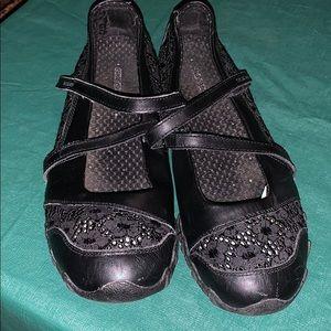 Skechers black ballerina flats loafer shoes size 7